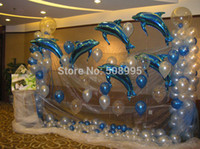 Wholesale Helium Balloon Dolphin - 80CM Large Pink Blue Dolphin Foil Helium Balloon Birthday Party Wedding Decoration Supplies Kids Gift Favourite Toy Hot Sale