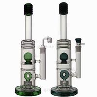ingrosso bicchiere di vetro bicchiere a doppia-Bong in vetro Bong Wax Bong Double Ball Percolatore Dab Rigs Matrix Perc Oil Rigs Bubbler Pipe 15 pollici Water Pipes con quarzo Banger