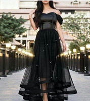 Wholesale Glass Water Fall - 2017 Black Prom Dresses Off the Shoulder Glass Crystals Beaded Tulle Satin Boned Bodice Short Front and Long Back Evening Gowns