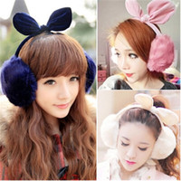 Wholesale Girls Winter Earmuffs - Women Girls Sweet Winter Warm Plush Fluffy Ear Cover Bow Earmuffs Earlap Earshield 8 Colors 12Pcs Lot Free Shipping