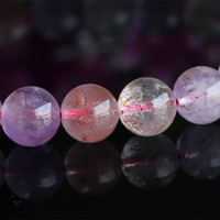 Wholesale Super Melody Stone Bracelets - Wholesale Pink Purple Natural Genuine Multi Colors Mix Super Seven 7 Finish Stretch Bracelet Round Beads Melody Stone Gemstones 03733