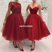 Wholesale Long Sleeves Maxi Dress Petite - 2018 Newest Burgundy Ankle Length Cocktail Dresses Lace Appliques Beaded Maxi Style Formal Prom Dresses Party Gown Custom Made Hot Sale