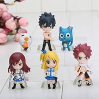 аниме аниме комплект оптовых-10set 6см аниме Fairy Tail ПВХ рисунок модель (6 шт / комплект) Нацу / серый / Люси / Эрза Розничная