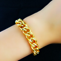 "Wholesale Mens Solid 14k Bracelets - Mens jewelry Long 8.8"" 8MM 14k YELLOW GOLD FILLED MENS Solid BRACELET Herringbone link CHAINS NEW arrival xmas gift"