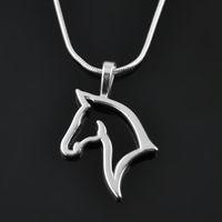 Wholesale Elegant Horse - Top selling sports necklaces for gift rhodium 100pcs lot elegant horse head custom animal Snake Chain pendants necklaces