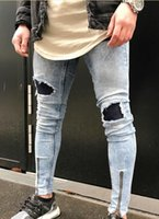 Wholesale Spliced Jeans - Hot! denim pants Popular Snowflake Whitish Mens Jeans Washed Pleatea Spliced Hole Jeans Casual Men's Slim Fit Jogger Jeans