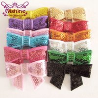 """Wholesale embroideried sequin bows - Nishine 2"""" Embroideried Sequin Bows For Girls Headband Hair Clip Kids DIY Hair Bow Hair Accessories(Color:12 Colors)"""