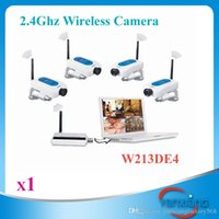 Wholesale Wireless Cctv Pc Kit - CHpost 1 PC 2.4GHz 4CH CCTV DIGITAL Wireless Network Security Audio Video Camera System DVR Kit USB ZY-SX-04
