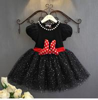 Wholesale Baby Pink Minnie Tutu Dress - 2016 New Baby Girl Dress Princess Party Fancy Dress Sequins Cute Bow Minnie Micky Polka Dot tutu Dress Birthday Gift 2 Color