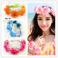 Wholesale Seaside Bracelets - Bohemia Style Girl Flower Headwear Wedding Headband Girl Anadem + Bracelet Beach Accessories Headdress Seaside Holiday Photograph DF429