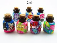 Wholesale glass bottles corks perfume - 2ml Polymer Clay Perfume Bottle with Natural Wood Cork Necklace Pendant Essential Oil Glass Bottle with Wood Stopper