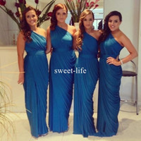 Wholesale Maid Honour - Simple Blue 2017 Long Chiffon Bridesmaid Dresses One Shoulder Custom Made Cheap Under 100 Maid Of Honour Wedding Guest Dresses