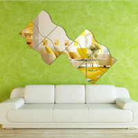 Wholesale Kids Acrylic Mirrors - Removable Waves Shaped Sticker For Living Room Decor 3D Mirror Wall Stickers Moisture Proof Plastic Acrylic Decals Solid Color 7ls B