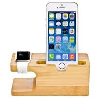 держатель деревянной подставки оптовых-Станция бамбук дерево зарядное устройство для Apple, часы зарядки док-станции зарядное устройство стенд держатель для IP х 8 док держатель колыбель подставка