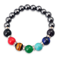 Wholesale Magnetic Healing - Joya Gift Magnetic Hematite 8MM Round Beads stone bracelets 7 Chakra Gemstone Crystal Healing Reiki women jewelry bangle Free Shipping