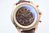 Wholesale Mens Leather Bracelets Brown - Luxury Brand New Quartz Chronograph Two Tone Brown Dial Stainless Case Bracelet Mens Quartz Date Watch Men's Sports Wrist Watches
