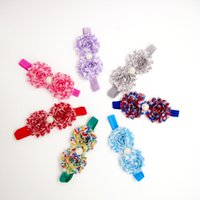 Wholesale Latest Baby Hair Band - The latest version of stripe shabby flower hair band Chiffon burrs baby hair band with 7 color flowers Hair Accessories 1627