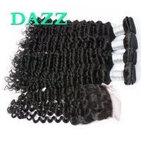 Индийские волосы Virgin Hair Deep Wave 4 Bundles с кружевным закрытием Raw Indian Deep Curly Weave Wet and Wavy Human Hair Bundles With Closure