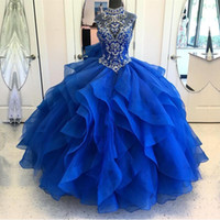 Wholesale Pink Layered Prom Gown - High Neck Crystal Beaded Bodice Zipper Back Organza Layered Quinceanera Dresses Ball Gowns Sweet 15 Prom Party Dress 2018