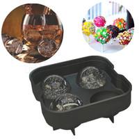bierform großhandel-4 loch ice ball tray form FDA silikon eiswürfelform für bier wein getränke schokoladenform fondantform 2 teile / sätze
