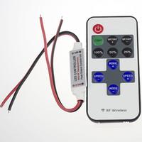 rgb levou luz única venda por atacado-Tiras de luz RGB LED Único Colorfull Mini RF Controlador Remoto Sem Fio Dimmer para 3528 5050 5630 tiras de luz 144 W