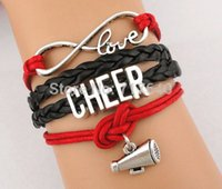 Wholesale Cheerleader Charms For Bracelets - 7 styles choose Infinity Cheer Charm Fashion Speaker Cheerleaders Bracelet friendship leather bracelets for gift customs sports