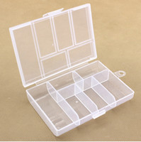 Wholesale Empty Box Nails - Empty 6 Compartment Plastic Clear Storage Box For Jewelry Nail Art Container Sundries Organizer Free Shipping wen4652
