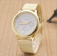 Wholesale Wire Mesh Dress - Fashion Unisex Geneva Roman Numerals watch Mesh Wire Steel band Analog Quartz Wrist Watches for women men wrist watch dress watches