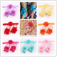 Wholesale flower feet accessories online - Baby Vintage Chiffon flower hair accessories and Foot Flowers Children s Lovely head bands Hair wear Infant Slipper colors sets