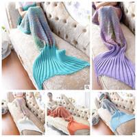 Wholesale knitting patterns adults - 5 Colors 180*80cm Rainbow Mermaid Blanket Pattern Crochet Mermaid Tail Blanket Adult Sleeping Yarn Knitted Mermaid Blankets CCA8365 10pcs