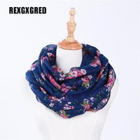 Venda por atacado - Hot Sale New Fashion Warm Women Flower Loop Scarf Feminino Small Rose Print Ring Scarves Infinity Shawl Wrap
