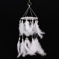 feder wohnzimmer dekor großhandel-Pure White Feather Woven Dream Catcher Rundnetz mit Fake Pearl Home Decor Dreamcatcher Wandbehang Wohnzimmer Dekoration