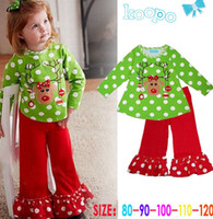 Wholesale Bell Pants - girls christmas suits Green dots baby christmas santa suit girls santa pyjamas bell bottoms pants baby shirt pants sets free shipping