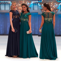 Wholesale Long Teal Dresses Beading - 2016 New Arrival Scoop Teal Navy Blue Pageant Prom Evening Dresses Long Appliques Chiffon See Through Lace Formal Evening Gown