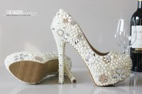 Wholesale Ivory Bling Heels - Luxury Pearl Beaded Wedding Shoes High Heel 10cm-11cm Sparking Crystals Bling Bling Formal Party Shoes High-heeled Prom Shoe
