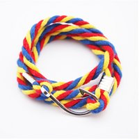 2015 New Design Moda Vintage Hand-woven Rope Multicolored Striped Cross Metal gancho pulseira para as mulheres baratos Wholesales PT36