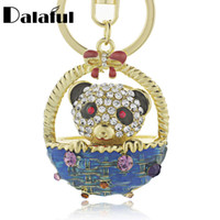 Wholesale basket chain - beijia Lovely Panda Bowknot Basket Crystal Bag Pendant Keyring Keychain For Car Fashion Jewelry key chains holder women K186