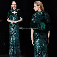Wholesale Deco Shawl - actual photos elegant winter velvet sequin embroideried evening dresses 2018 Arab Dubai dresses with shawl mother of the bride dresses