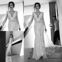 orchid dress - Illusion Long Sleeve Wedding Dresses Pluning V neck Backless Mermaid Bridal Gowns Lace Lihi Hod Orchid Applique Ruched Vintage Lace