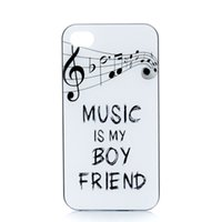 Wholesale Iphone Hard Case Music - Wholesale MUSIC IS MY BOY FRIEND Design Hard Plastic Mobile Phone Case Cover For iPhone 4 4S 5 5S 5C 6