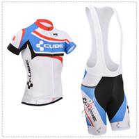 Wholesale Men S New Model Shirt - 2014 New Model Team Cube Clothing Summer Short Sleeve Men Cycling Clothing Cube Jersey Shirts Bib Shorts
