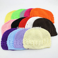 Wholesale Hand Crocheted Beanie Hats - Winter Warm Cute Baby Girl Infant Toddler Children Hand Crochet Beanie knitted Hat Cap Accessories 12colors 10pcs lot