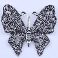 Wholesale Large Butterfly Pendant - 2016 New fashion copper Large butterfly pendant restoring ancient ways DIY jewelry pendant fit Necklace charm 30pcs lot 2152c