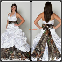 Wholesale Discount Drapes - Sexy Halter Neck Backless Camo Wedding Dresses Plus Size Ball Gown Bow Ruched Satin White Discount Wedding Dresses Online