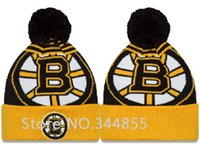 Wholesale Door Cuffs - Wholesale-2015 Newest Boston Bruins Knitted Skullies Caps Classic Fashion Sports Hockey LA Out Door Warm Pom Cuffed Beanies Hats