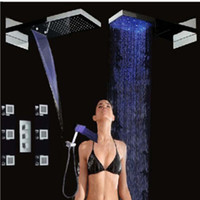 Wholesale Shower Head Unit - Wholesale And Retail Promotion Thermostatic Waterfall Shower Head Body Massage Jets Vavle Mixer Tap Hand Unit