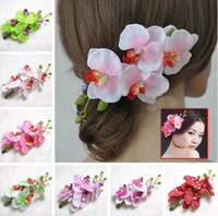 Wholesale Ladies Hair Accessories China - 8 Colors Fashion Womens Lady New Fashion Flower Hair Clip Hairpin Bridal Hawaii Party Hair Accessories Headwear Drop Shipping [JH02057*10]