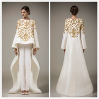 Wholesale Embroidery Only - 2016 hot Bling stain Evening Dresses with Long Sleeve Dubai Arabic Dresses Elegant Middle East Dress Prom Gown Only coat,no have trousers