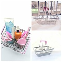 Wholesale Wholesale Supermarket Shopping Basket - Mini Supermarket Shopping Cart Kids Toy Desktop Cosmetic Sundries Organizer Iron Storage Basket 3 Sizes KKA3510