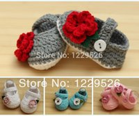 Wholesale Crochet Shoe Designs - 2015 New design Crochet Cotton Baby Crochet Shoes Baby Knitted Footwear Toddler shoes 0-12M First walkers shoes